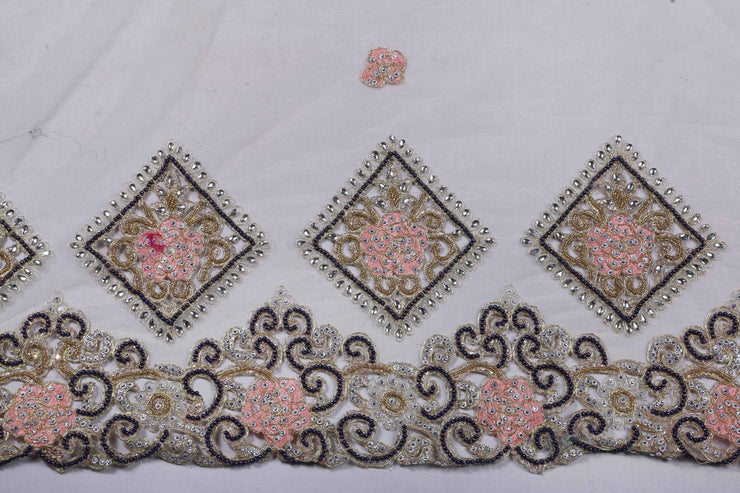 Hand Embroidered Blouse Design # 3207 - Cream - 1.7 Yards