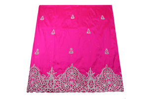 Hand Embroidered George Wrapper Design # 9419 - Fuchsia Pink - With Blouse