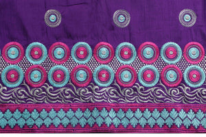 Machine Embroidered George Wrapper Design # 7097 - Purple - Without Blouse