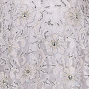 Hand Embroidered Fabric Design # 4182 - Pure White - 5 Yard Piece