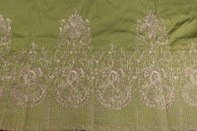 Load image into Gallery viewer, Machine Embroidered George Wrapper Design # 7397 - Army Green - With Blouse