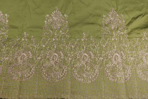 Machine Embroidered George Wrapper Design # 7397 - Army Green - With Blouse