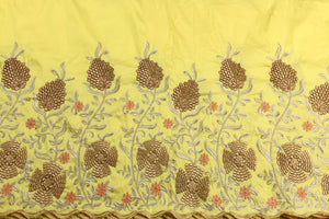 Machine Embroidered George Wrapper Design # 7449 - Yellow - With Blouse