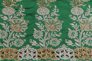 Hand Stoned George Wrapper Design # 6694 - Pure Green - With Blouse