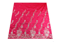 Load image into Gallery viewer, Machine Embroidered George Wrapper Design # 7073 - Fuchsia Pink - Without Blouse
