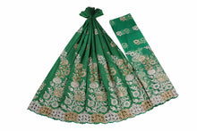 Load image into Gallery viewer, Hand Stoned George Wrapper Design # 6694 - Pure Green - With Blouse