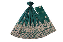 Load image into Gallery viewer, Machine Embroidered George Wrapper Design # 7396 - Bottle Green - With Contrast Blouse