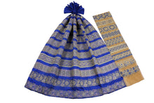 Load image into Gallery viewer, Machine Embroidered George Wrapper Design # 7412 - Royal Blue - With Contrast Blouse