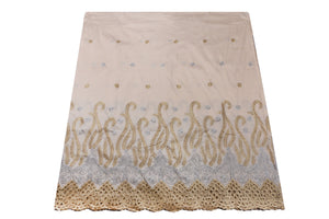 Machine Embroidered George Wrapper Design # 7400 - Beige - With Blouse
