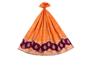 Machine Embroidered George Wrapper Design # 7071 - Saffron - Without Blouse