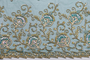Hand Embroidered Blouse Design # 3186 - Pure Green - 1.7 Yards