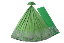 Load image into Gallery viewer, Hand Embroidered George Wrapper Design # 9410 - Lime Green - With Blouse