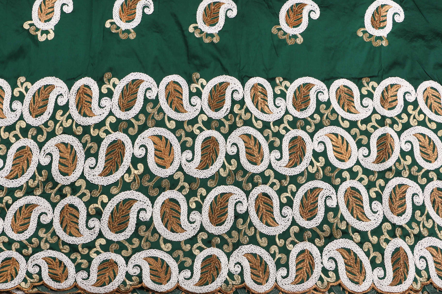 Machine Embroidered George  Wrapper Design # 7433 - Bottle Green - With Blouse