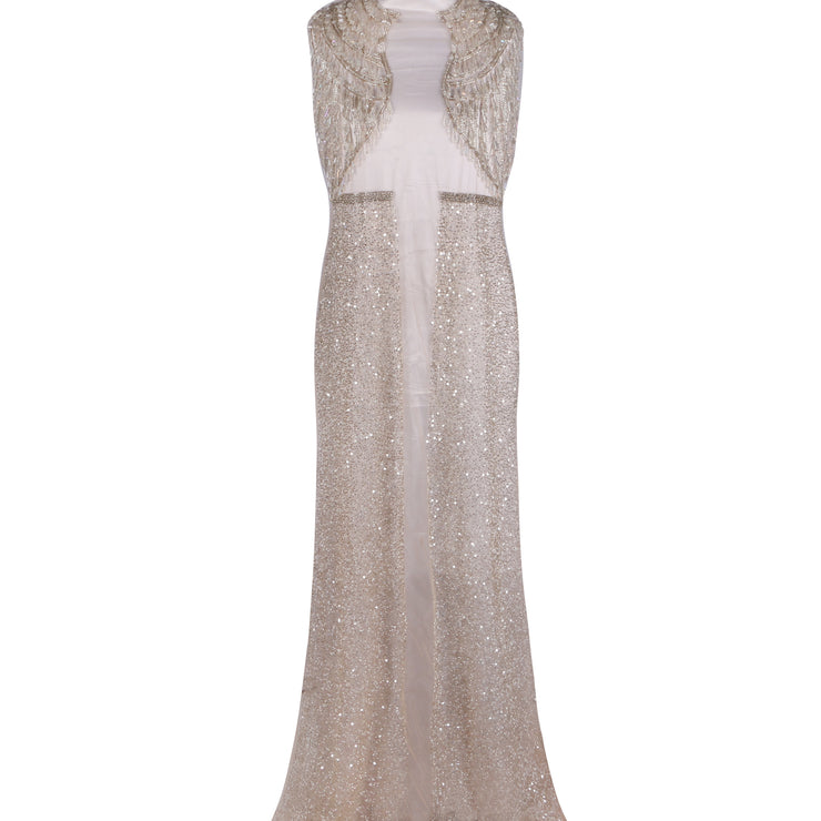 Unstitched Dress Piece Design # 6006 - Nude