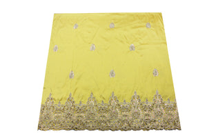 Hand Stoned George Wrapper Design # 6624 - Yellow - With Blouse
