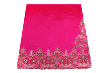 Load image into Gallery viewer, Hand Embroidered George Wrapper Design # 9724 - Fuchsia Pink - With Blouse