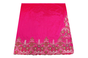 Hand Embroidered George Wrapper Design # 9724 - Fuchsia Pink - With Blouse