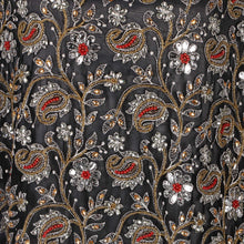 Load image into Gallery viewer, Hand Embroidered Fabric Design # 4133 - Black - Per Yard