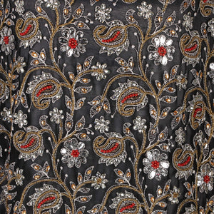 Hand Embroidered Fabric Design # 4133 - Black - Per Yard