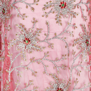 Hand Embroidered Fabric Design # 4072- Coral - 5 Yard Piece