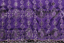 Load image into Gallery viewer, Machine Embroidered George Wrapper Design # 7091 - Purple - Without Blouse