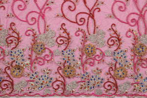 Hand Embroidered Blouse Design # 3282 - Fuchsia Pink - 1.7 Yards