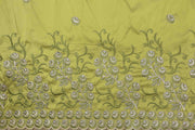 Machine Embroidered George Wrapper Design # 7043 - Lime Green - Without Blouse