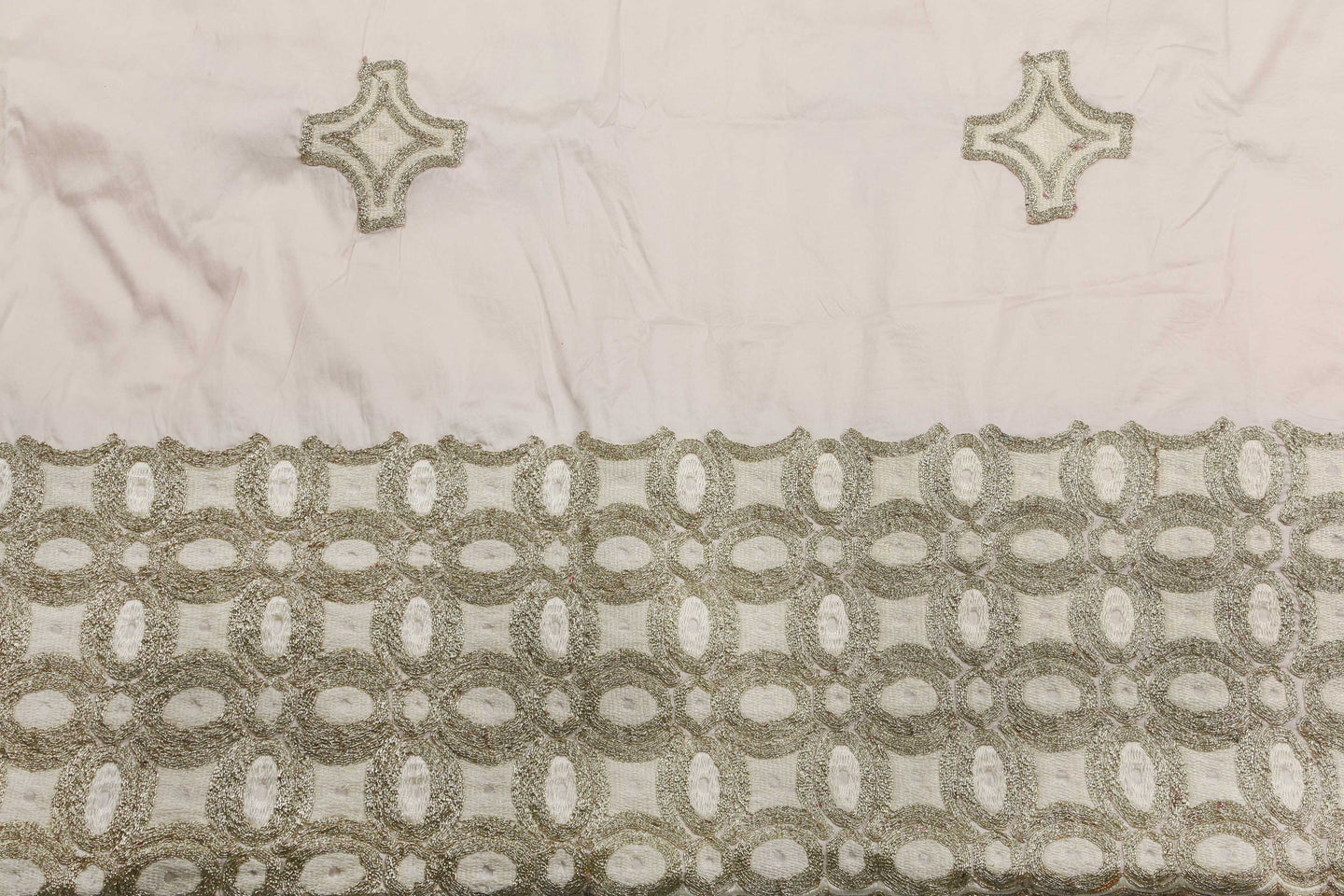 Machine Embroidered George Wrapper Design # 7443 - Cream - With Blouse