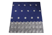 Machine Embroidered George Wrapper Design # 7393 - Navy Blue - With Blouse