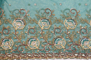 Hand Embroidered Blouse Design # 3184 - Pure Green - 1.7 Yards