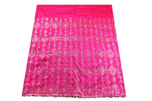 Machine Embroidered George Wrapper Design # 7091 - Fuchsia Pink - Without Blouse