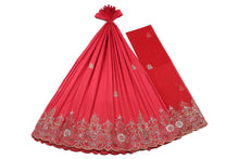 Load image into Gallery viewer, Hand Embroidered George Wrapper Design # 9558 - Coral - With Blouse