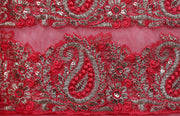 Machine Embroidered George Wrapper Design # 7349 - Fuchsia Pink  - With Blouse