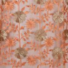Load image into Gallery viewer, Machine Embroidered Fabric Design # 4029- Peach- With Pearls - 5 Yard Piece