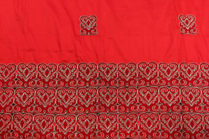 Machine Embroidered George Wrapper Design # 7451 - Red - With Blouse