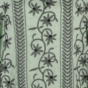 Machine Embroidered Fabric Design # 4124 - Mint Green - 5 Yard Piece