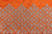 Hand Stoned George Wrapper Design # 6690 - Burnt Orange - With Blouse
