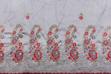 Load image into Gallery viewer, Machine Embroidered George Wrapper Design # 7438 - Ash - With Blouse