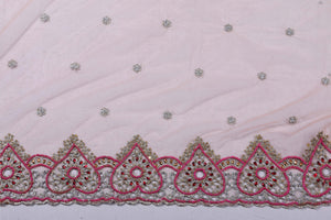 Hand Embroidered Blouse Design # 3194 - Peach - 1.7 Yards