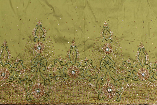 Hand Embroidered George Wrapper Design # 9607 - Army Green - With Blouse