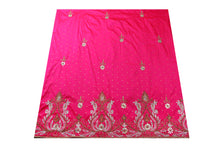 Load image into Gallery viewer, Hand Embroidered George Wrapper Design # 9595 - Fuchsia Pink - With Blouse