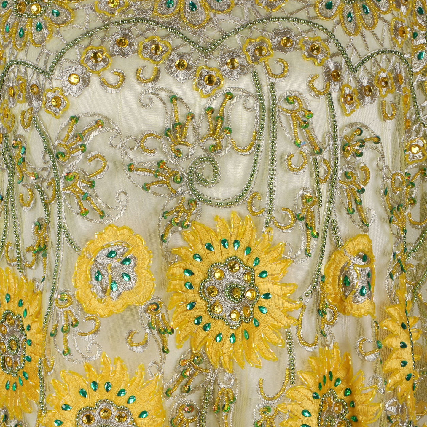 Hand Embroidered Fabric Design # 4098 - Yellow - 5 Yard Piece