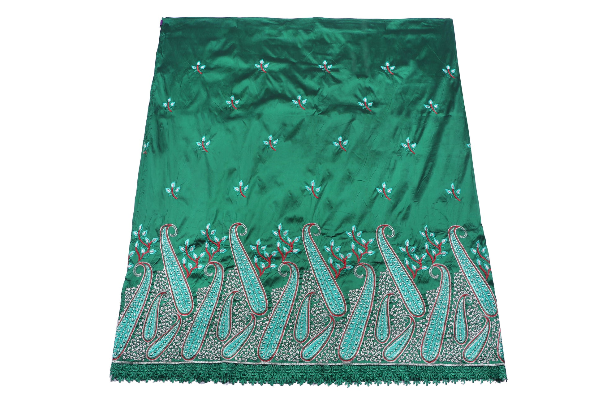 Machine Embroidered George Wrapper Design # 7074 - Bottle Green  - With Blouse