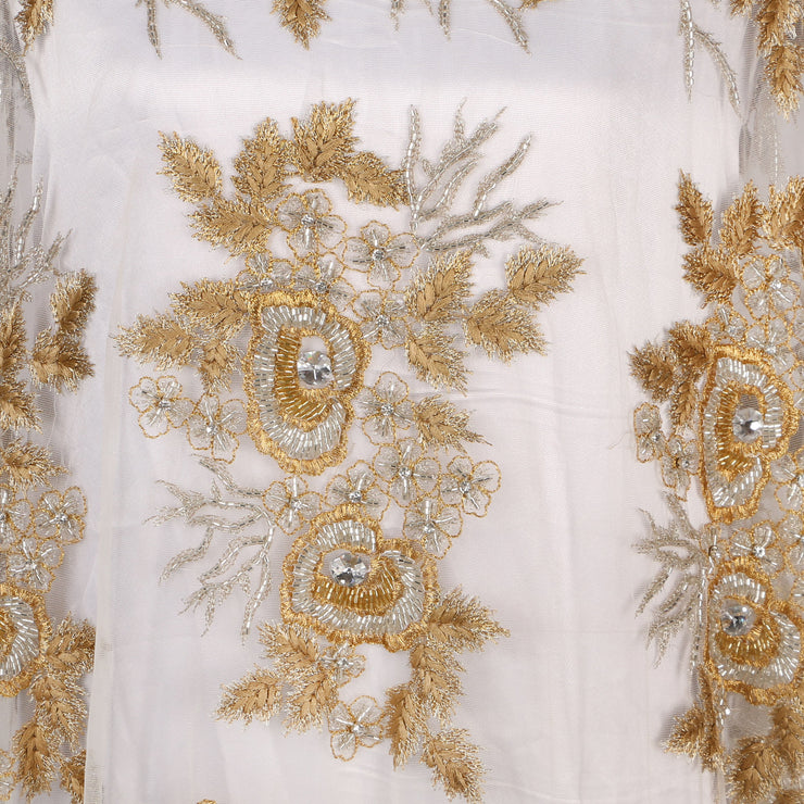 Hand Embroidered Fabric Design # 4057 - Gold - 5 Yard Piece