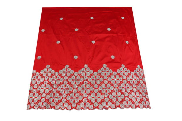 Hand Stoned George Wrapper Design # 6690 - red - With Blouse