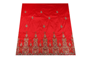 Hand Stoned George Wrapper Design # 6670 - Red - With Blouse