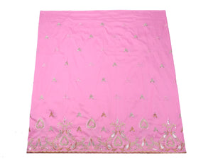 Machine Embroidered George Wrapper Design # 7047 - Baby Pink - Without Blouse