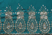 Load image into Gallery viewer, Machine Embroidered George Wrapper Design # 7405 - Teal Green - With Blouse
