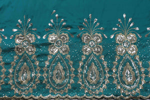 Machine Embroidered George Wrapper Design # 7405 - Teal Green - With Blouse