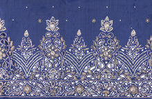 Load image into Gallery viewer, Hand Embroidered George Wrapper Design # 9421 - Navy Blue - Without Blouse